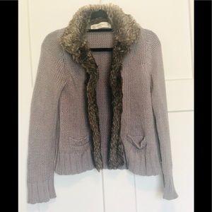 Zara Knit Faux Fur Trim Open Cardigan Sweater